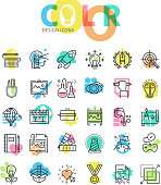 Flat line icons set of graphic design and media technology