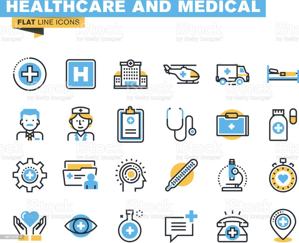 Flat line icons set of health care and medicine theme vector art illustration