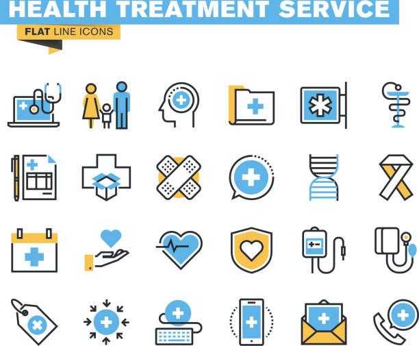ilustrações de stock, clip art, desenhos animados e ícones de conjunto de ícones de linha plana de saúde serviço - diálise