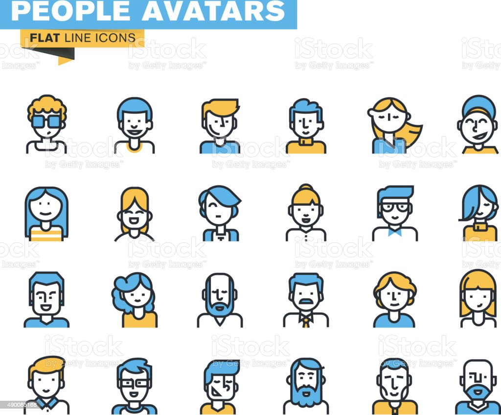 Flat line icons set of people stylish avatars vector art illustration