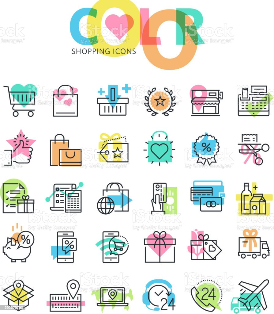 Flat line icons set of shopping vector art illustration