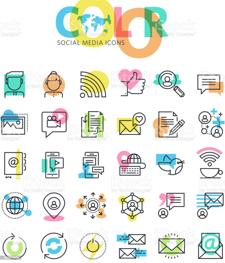 Flat line icons set of social media, networking, internet communication vector art illustration