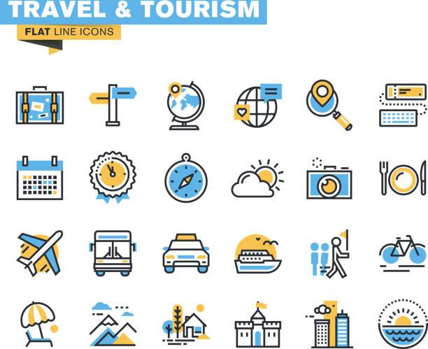 フラットラインのアイコンセットの旅行と観光 - 旅行代理店点のイラスト素材/クリップアート素材/マンガ素材/アイコン素材