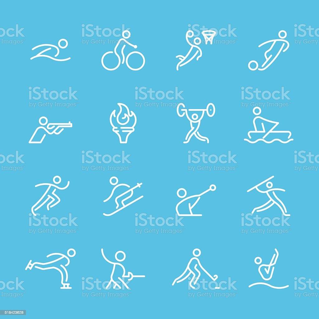 Linha plana ícones-Sport &  série de ginástica - ilustração de arte em vetor