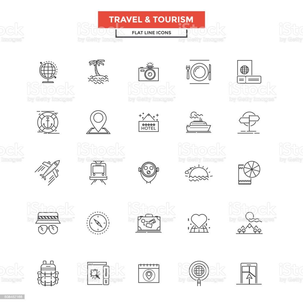 Flache Linie Symbole- Reise und Tourismus – Vektorgrafik
