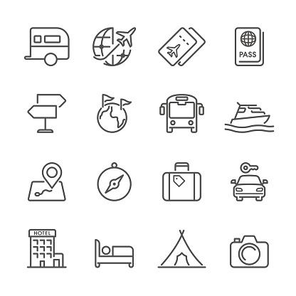 Flat Line icons - Travel Series