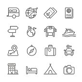 Icon Set of travel on white background , Vector line design icon The latest line design icon ,