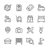 Icon Set of travel on white background , Vector line design icon The latest line design icon ,