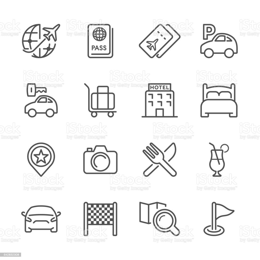 Flat Line icons - Travel Series vector art illustration
