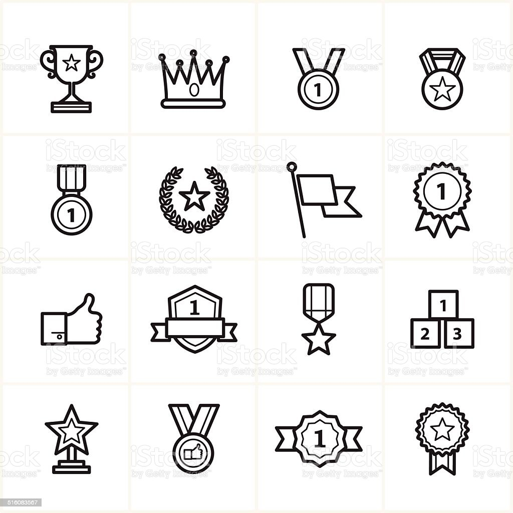 Flat Line Icons Trophy and Prize Icons Vector Illustration vector art illustration