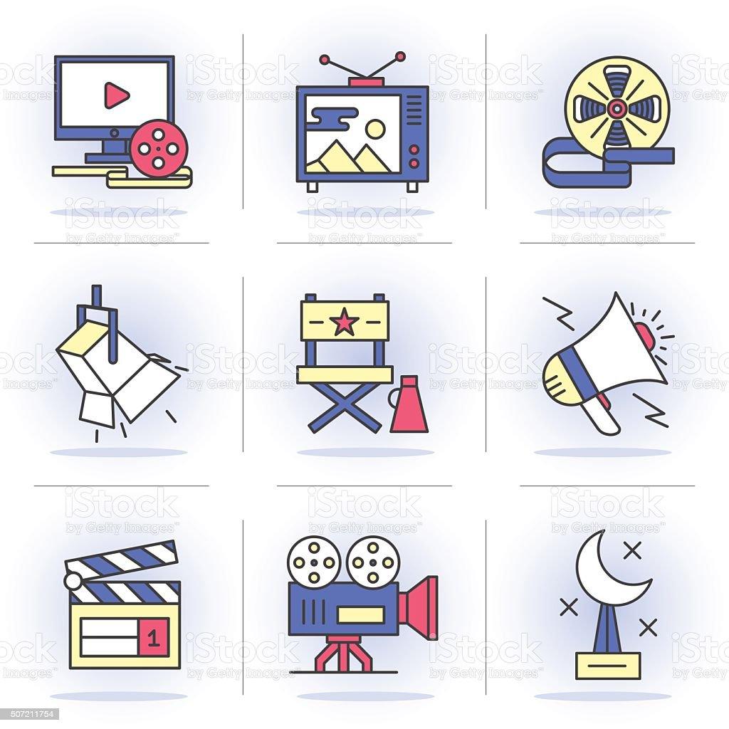 Flat Line Icons vector art illustration