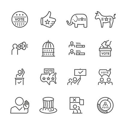 Flat Line icons - vote Series