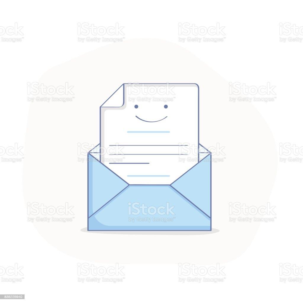かわいいスマイリーの平らな線図の中に手紙と封筒を開かれました の
