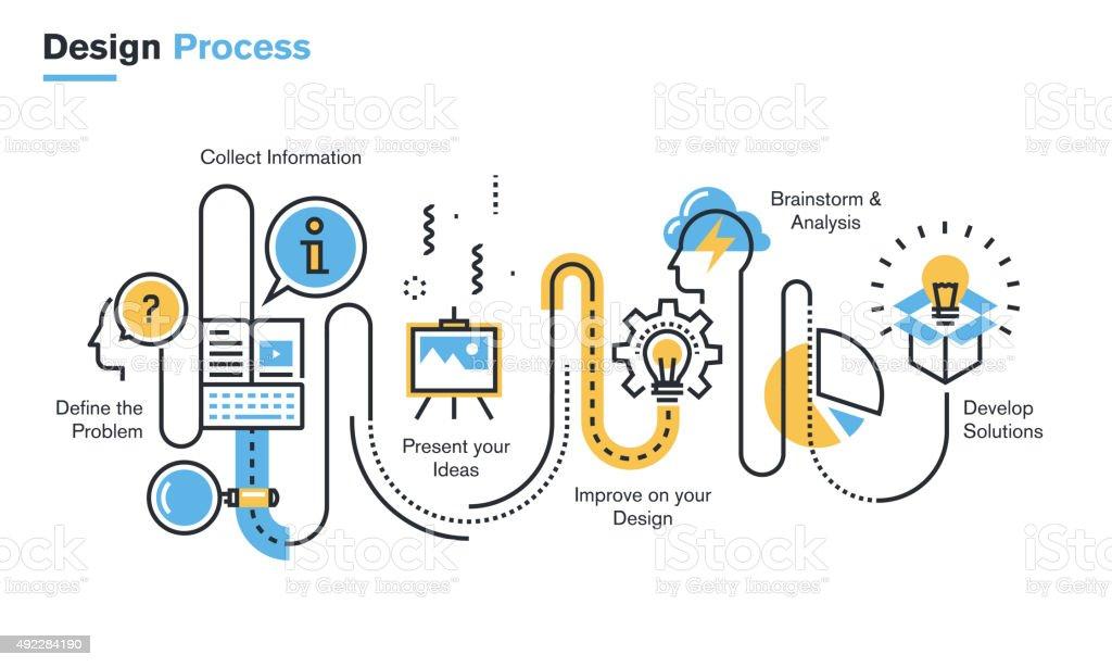 Flat line illustration of design process vector art illustration