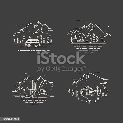Flat line illustration with wild landscapes, travel concept set on black. Trendy vector design with house, minivan, trees, mountains and waterfall. Nature exploration card collection