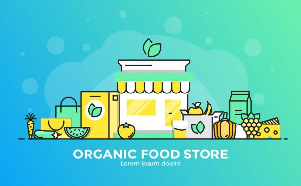 плоская линия современная концепция иллюстрация - органические продукты питания - food delivery stock illustrations