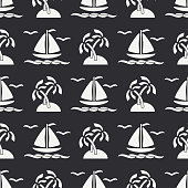 Flat line monochrome vector seamless pattern ocean boat, sail, palm, island. Cartoon retro style. Regatta. Seagull. Summer vacation journey. Yacht. Illustration and element for your design wallpaper.