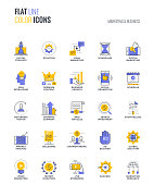 Flat line multicolor icons design-Marketing and Business