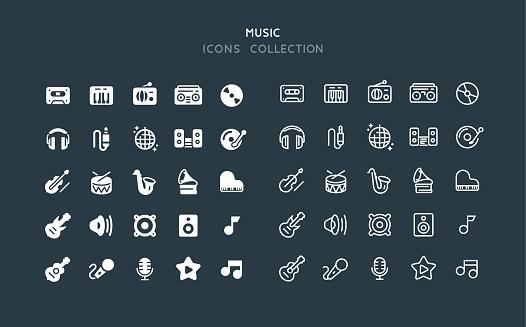 Flat & Line Music Icons