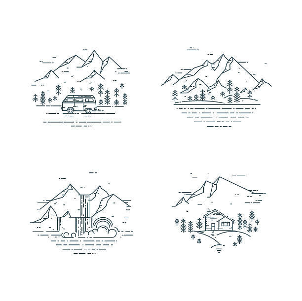 flat line travel concept set. - 힙스터 사람 stock illustrations