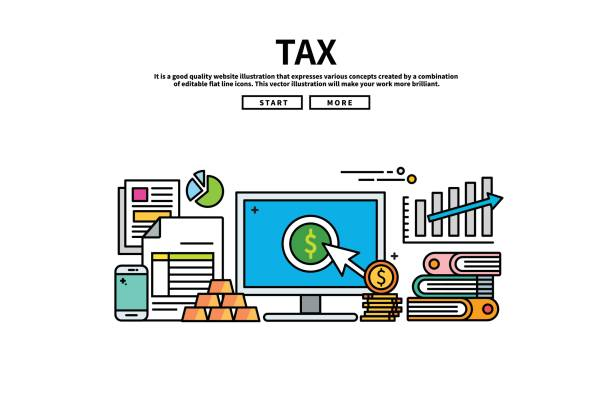 Flat line vector editable graphic illustration, business finance concept, tax Flat line vector editable graphic illustration, business finance concept, tax budget silhouettes stock illustrations