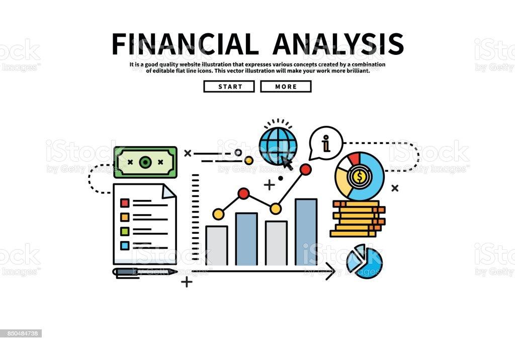 Illustration graphique modifiable de ligne plate vectorielle, concept de finance d'entreprise, analyse financière - Illustration vectorielle