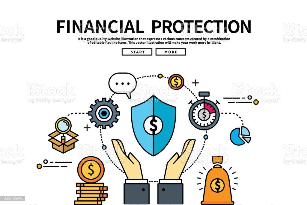 Flat line vector editable graphic illustration, business finance concept, financial protection vector art illustration
