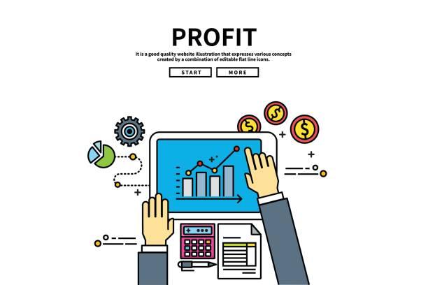 Flat line vector editable graphic illustration, business finance concept, profit vector art illustration