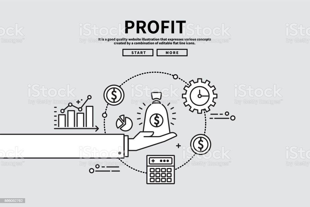 Illustration graphique modifiable de ligne plate vectorielle, concept de finance d'entreprise, profit - Illustration vectorielle