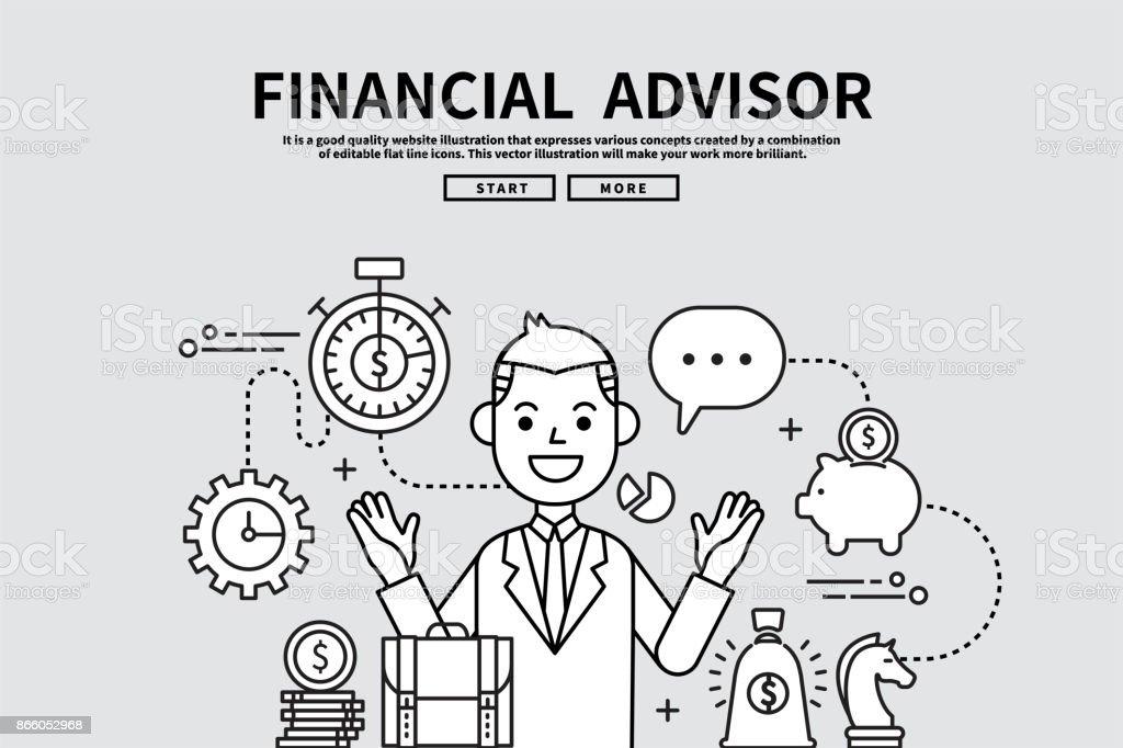 Illustration graphique modifiable de ligne plate vectorielle, concept de finance d'entreprise, conseiller financier - Illustration vectorielle
