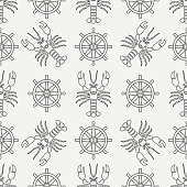 Flat line vector seamless pattern lobster and steering wheel. Simplified retro. Cartoon style. Cancer. Omar. Seafood delicacy. Shell. Claw. Sea. Crustacean. Illustration for your design and wallpaper.