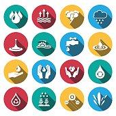 flat line water icon set