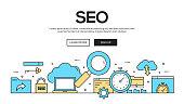 SEO Flat Line Web Banner Design