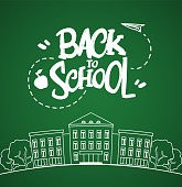 Vector illustration: Flat line white school building with hand drawn lettering Back to school on blackboard background.