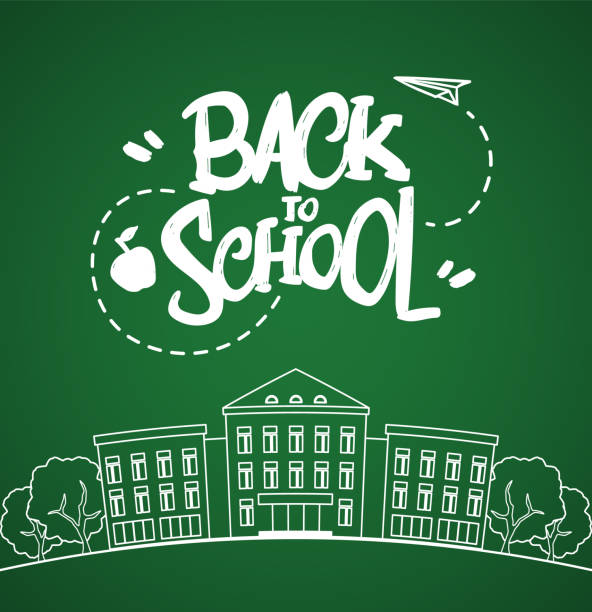 Flat line white school building with hand drawn lettering Back to school on blackboard background. Vector illustration: Flat line white school building with hand drawn lettering Back to school on blackboard background. schoolhouse stock illustrations