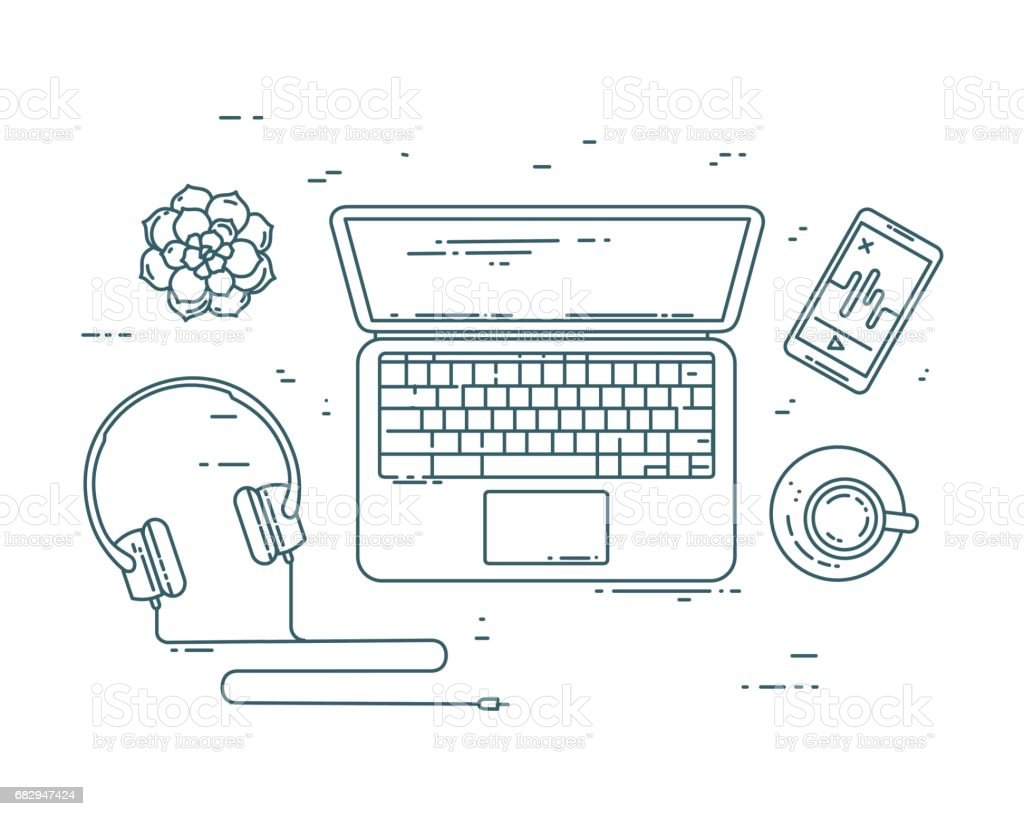 Flat line workplace concept. royalty-free flat line workplace concept stock vector art & more images of arts culture and entertainment