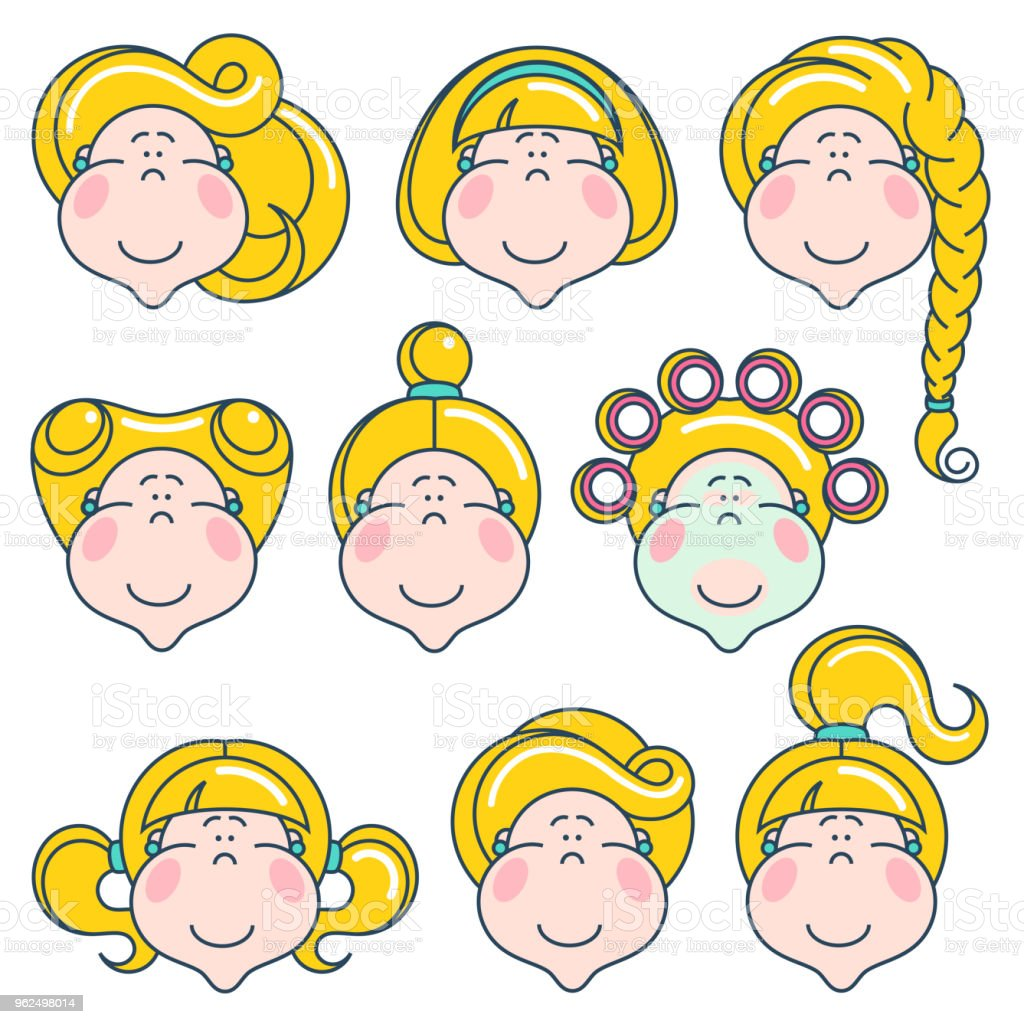Flat linear avatars set with smiling faces of women. Team icons collection. - Royalty-free Adult stock vector