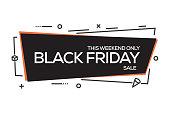 Flat Linear Black Friday Web Banner Design