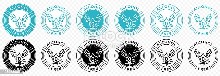 istock Flat linear design. Set of icons for product packaging labeling. Stamp - does not contain alcohol. Alcohol-free certificate in food and cosmetic products. Blob with wings and zero percent. Information label. Vector illustration. 1289839951