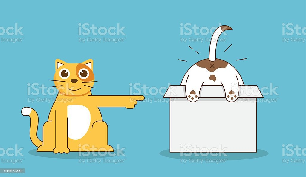 flat linear illustration of funny relationship of cat and dog の