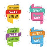 Flat linear promotion ribbon banner, scroll,  price tag, discount, badge, poster. Vector illustration set