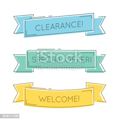 Flat Linear Promotion Ribbon Banner Scroll Price Tag Sticker Stock
