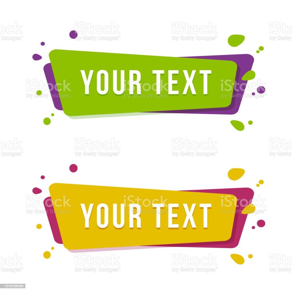 Bannière de promotion plat linéaire de ruban. Ensemble de stickers pour un texte. Illustration vectorielle. bannière de promotion plat linéaire de ruban ensemble de stickers pour un texte illustration vectorielle vecteurs libres de droits et plus d'images vectorielles de a la mode libre de droits