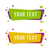 Flat linear promotion ribbon banner. Set of the stickers for a text. Vector illustration.