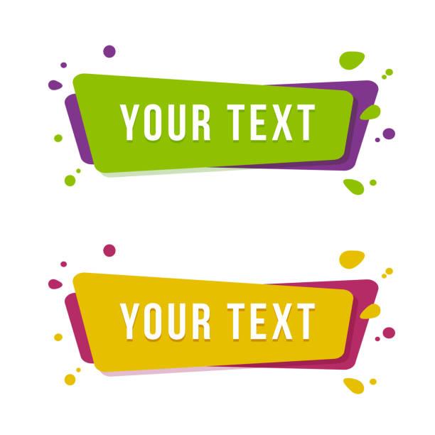 flache lineare förderung band banner. satz aufkleber für einen text. vektor-illustration. - designelement stock-grafiken, -clipart, -cartoons und -symbole