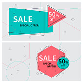 Flat linear promotion ribbon banners, price tags, stickers, badges, posters. Vector illustration.