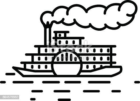 Flat Linear Retro Steamboat Illustration Stock Vector Art