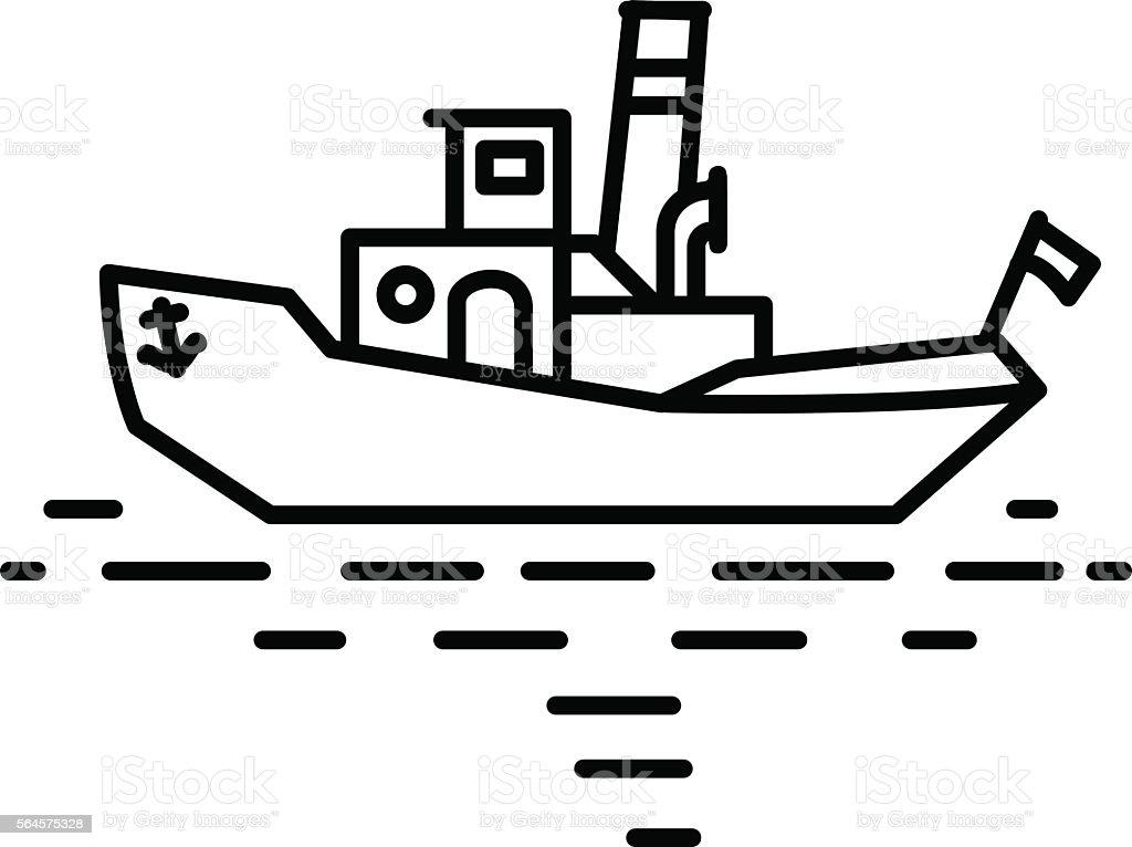 Flat linear retro steamship tug illustration vector art illustration