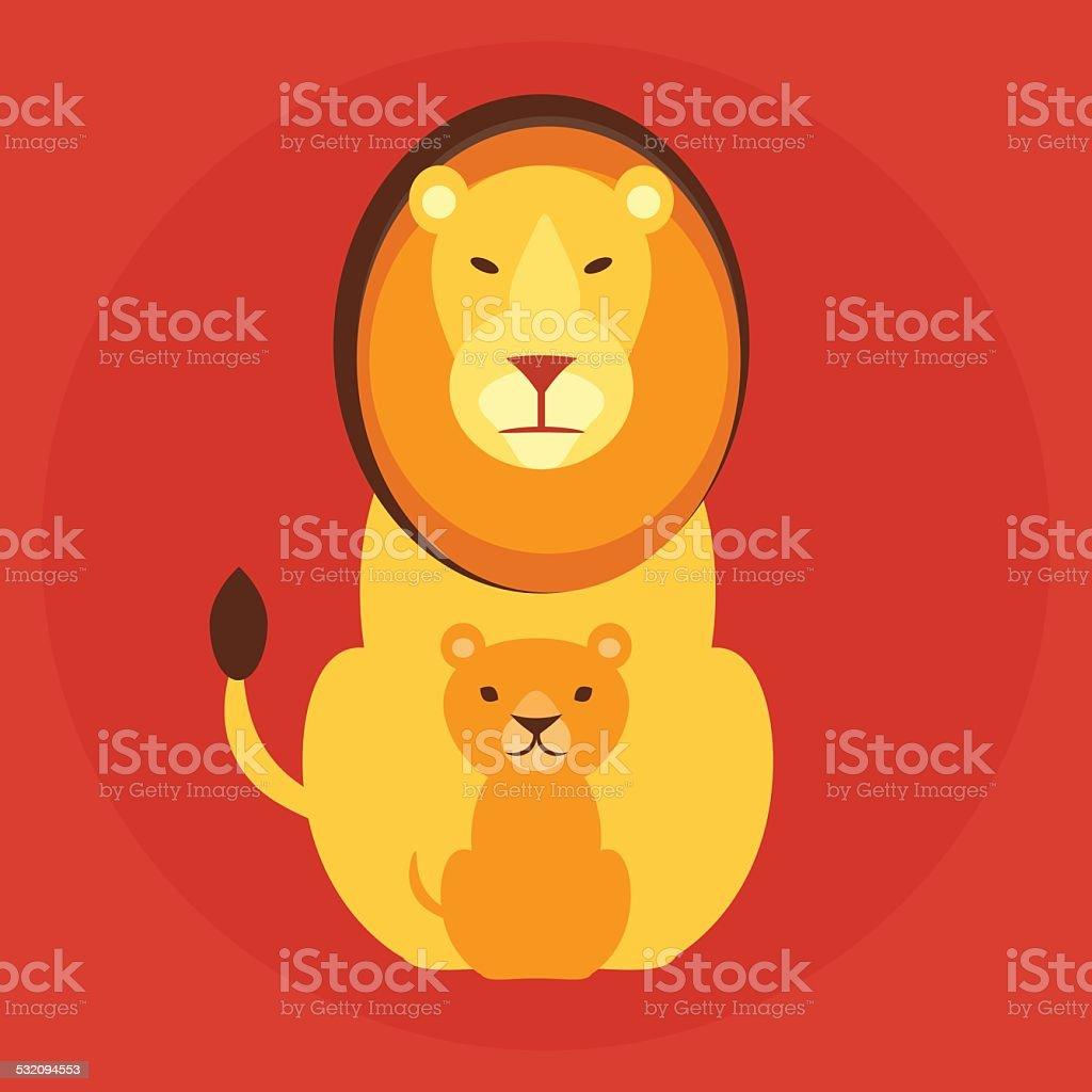 Flat lion family vector art illustration
