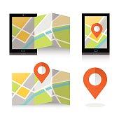 flat location icon on smartphone.